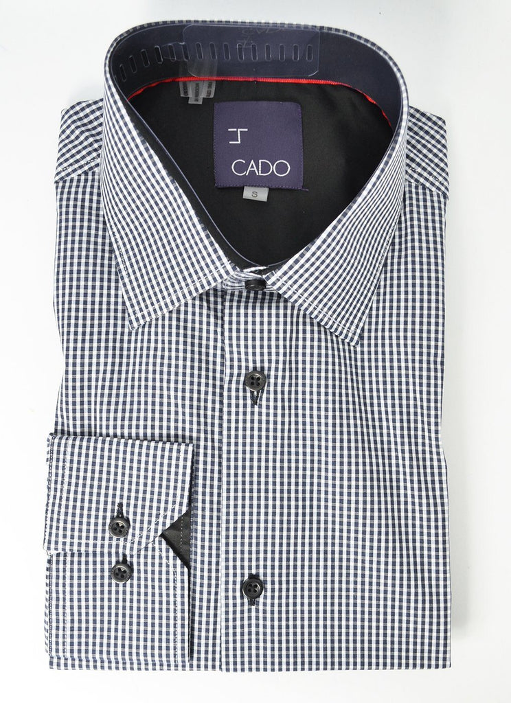 Black and White Gingham Men's Dress Shirt by Cado Cado Shirts - Paul Malone.com