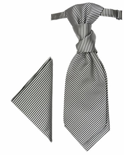 Silver and Black Striped Cravat and Pocket Square Set Paul Malone Cravat - Paul Malone.com