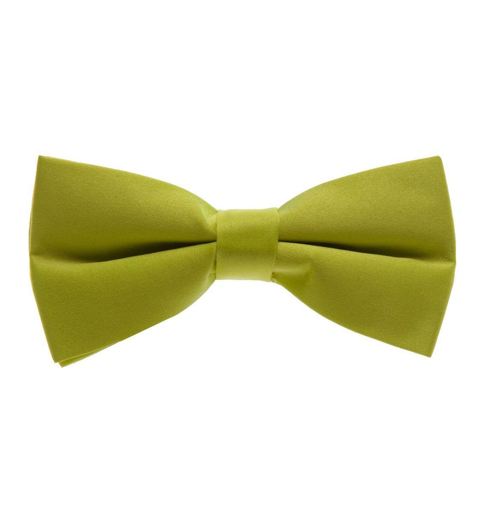 Solid Satin Green Pre-Tied Bow Tie Paul Malone Bow Ties - Paul Malone.com