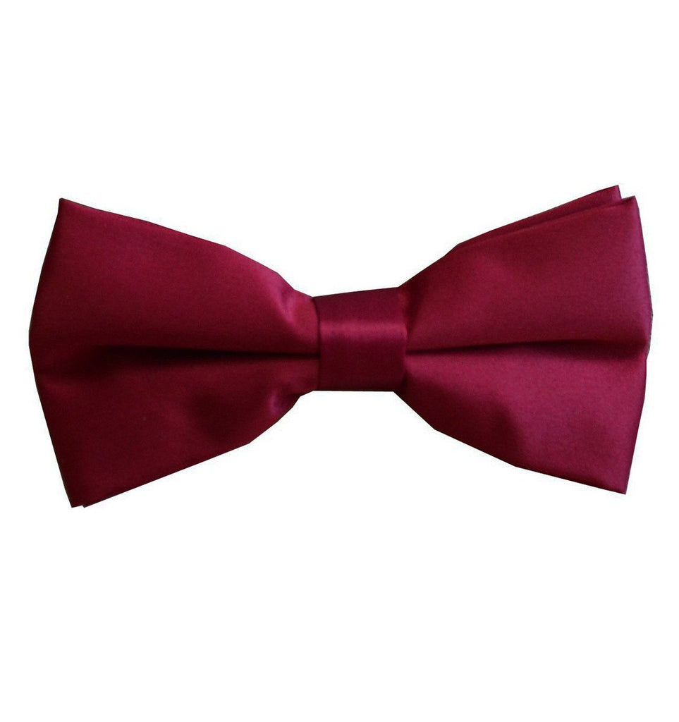Solid Burgundy Pre-Tied Bow Tie Paul Malone Bow Ties - Paul Malone.com