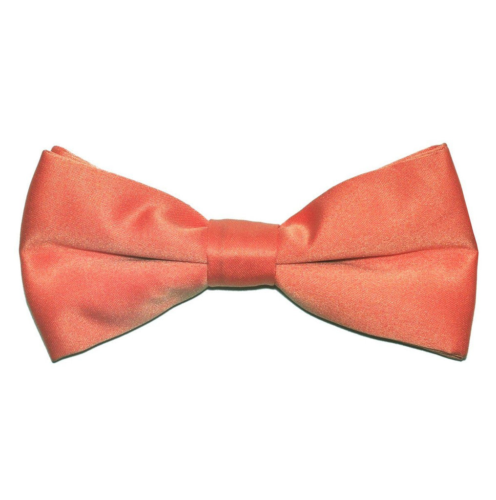 Solid Coral Pre-Tied Bow Tie Paul Malone Bow Ties - Paul Malone.com