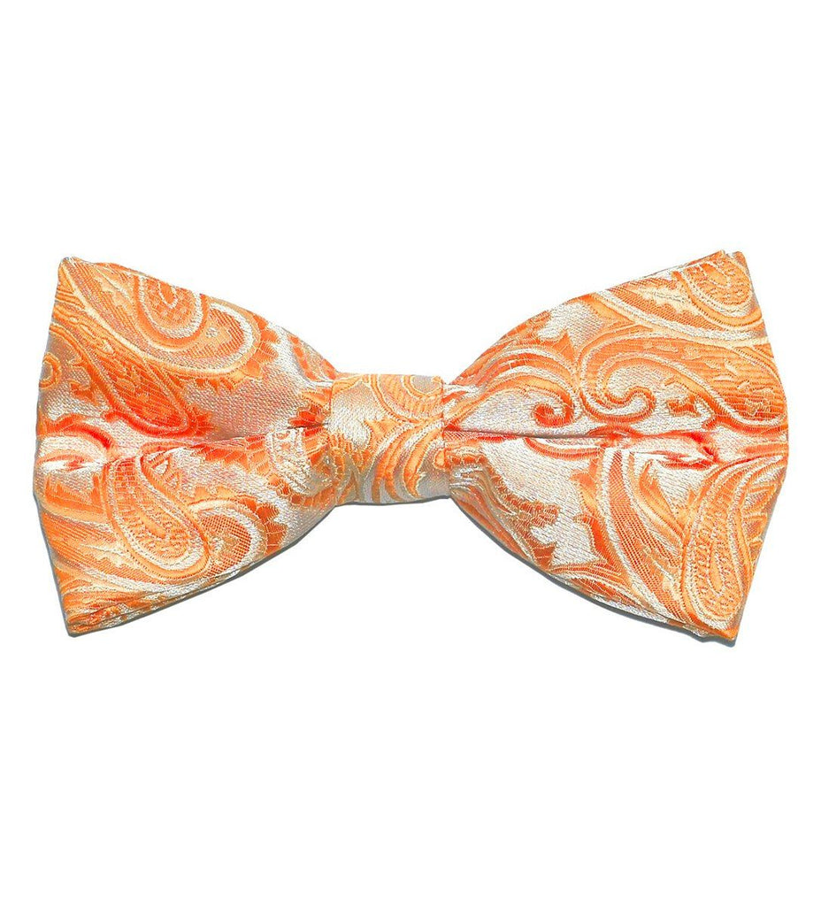 Orange Paisley Bow Tie Paul Malone Bow Ties - Paul Malone.com