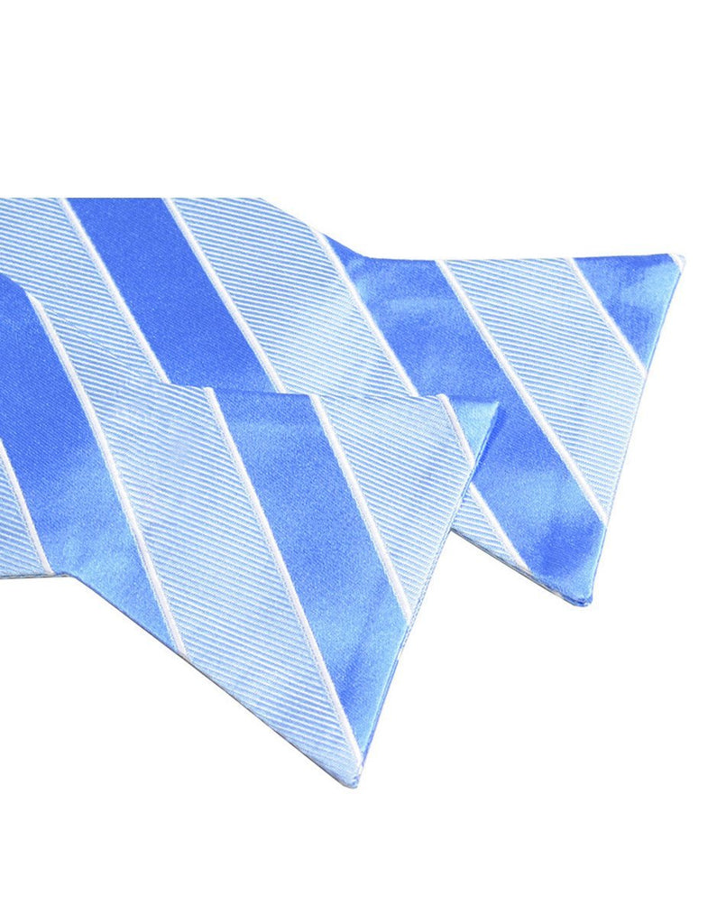 Light Blue Striped Silk Bow Tie Paul Malone Bow Ties - Paul Malone.com