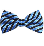 Light Blue and Black Striped Silk Bow Tie Paul Malone Bow Ties - Paul Malone.com