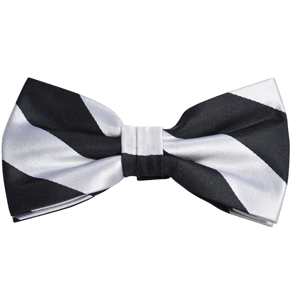 Black and Silver Striped Silk Bow Tie Bow Ties Paul Malone