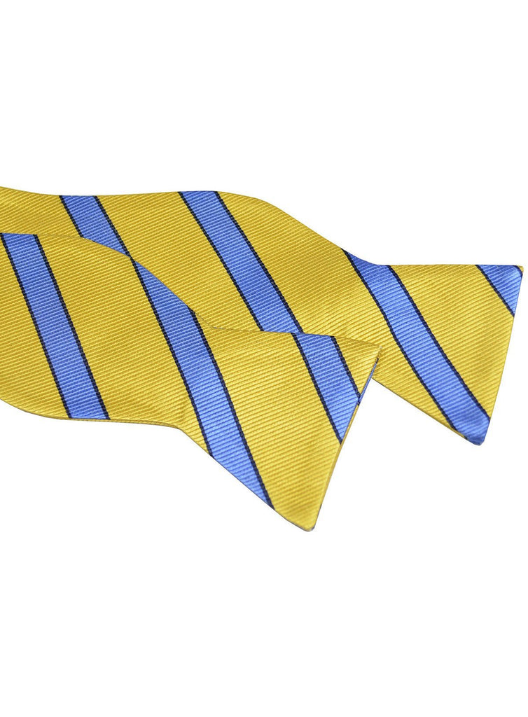 Yellow and Blue Striped Silk Bow Tie Paul Malone Bow Ties - Paul Malone.com