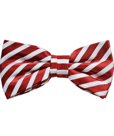 Red and White Striped Silk Bow Tie Paul Malone Bow Ties - Paul Malone.com