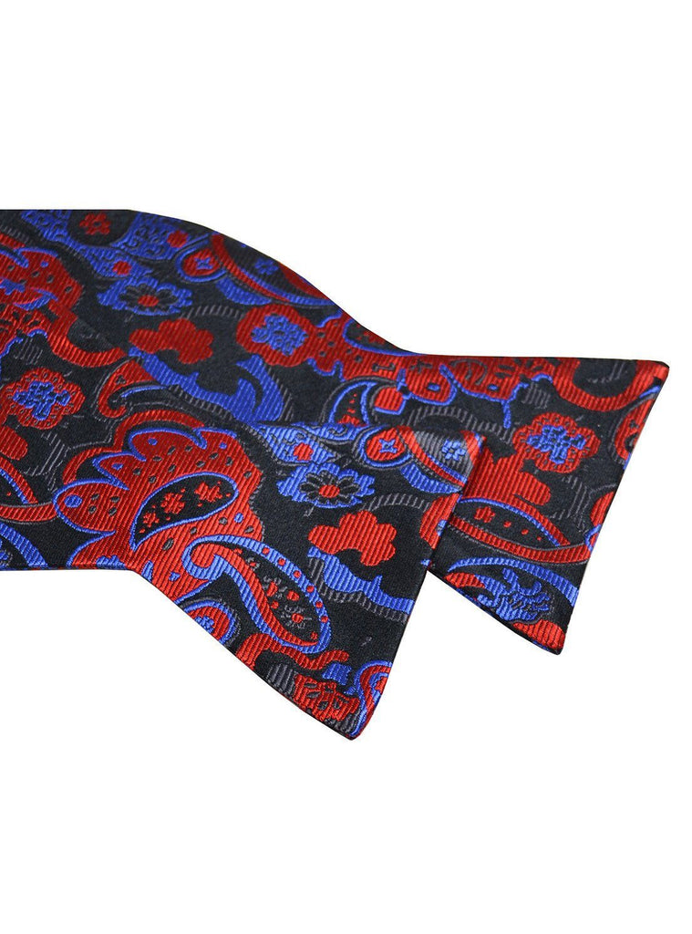 Red, Blue and Black Paisley Silk Bow Tie Paul Malone Bow Ties - Paul Malone.com