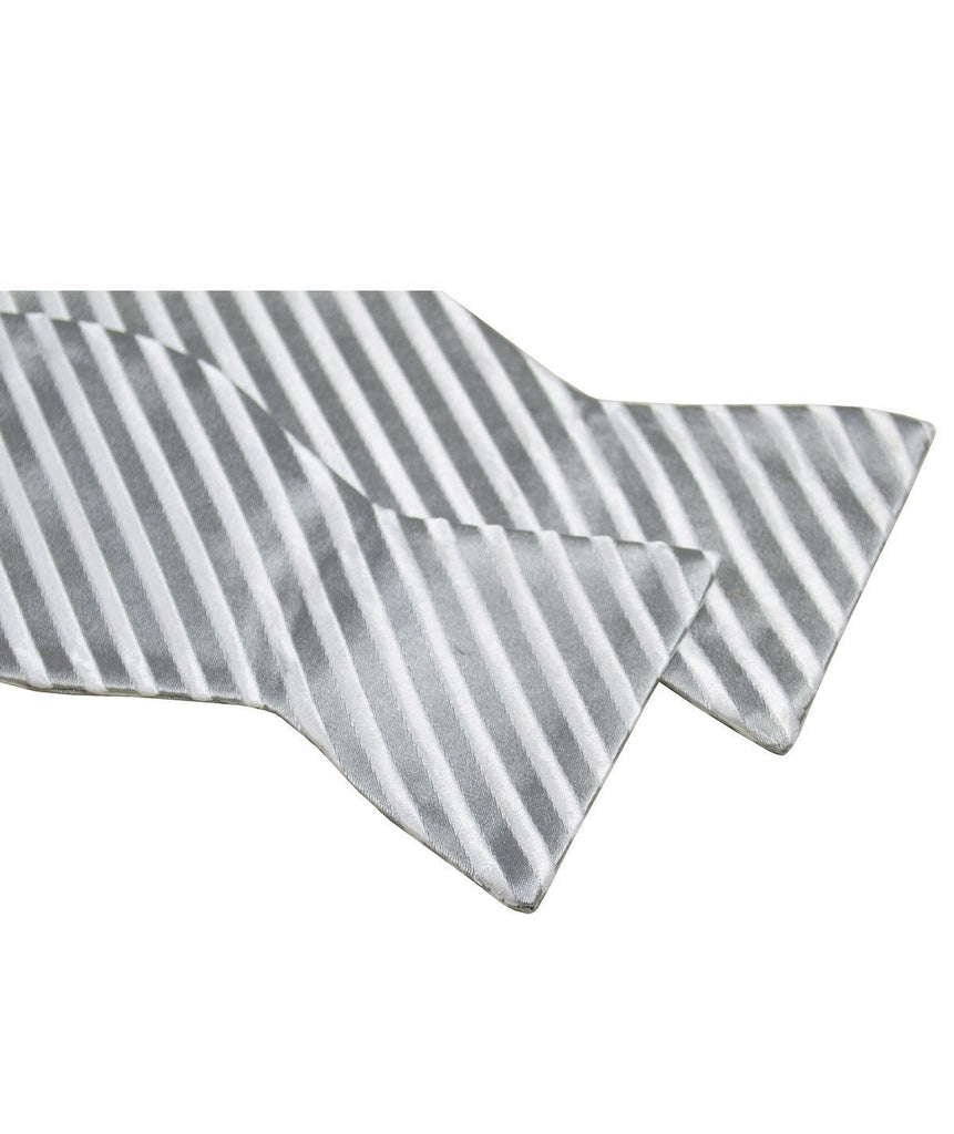 Silver and White Striped Silk Bow Tie Paul Malone Bow Ties - Paul Malone.com