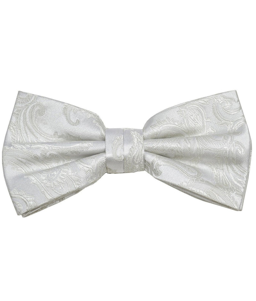 White Paisley Silk Bow Tie Paul Malone Bow Ties - Paul Malone.com