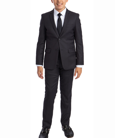 Solid Dark Grey Boys Suit Set with Vest, Tie and Shirt Perry Ellis Suits - Paul Malone.com