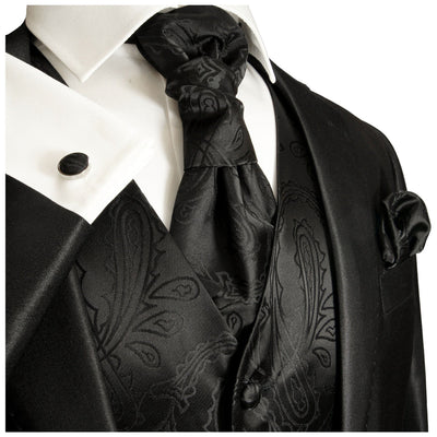 Black Paisley Tuxedo Vest and Accessories Paul Malone Vest - Paul Malone.com