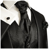 Black Paisley Tuxedo Vest and Accessories