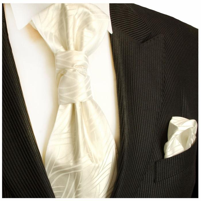 Ivory Cravat and Pocket Square Set Paul Malone  - Paul Malone.com