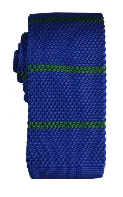 Blue and Green Striped Knit Tie Paul Malone Ties - Paul Malone.com
