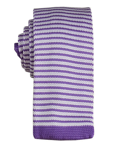 Purple and White Striped Knit Tie Paul Malone Ties - Paul Malone.com