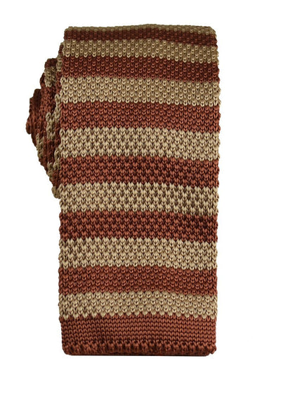 Maroon and Gold Striped Knit Tie Paul Malone Ties - Paul Malone.com
