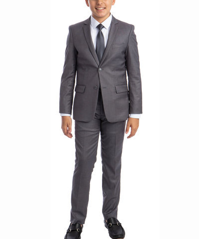 Solid Grey Boys Suit Set with Vest, Tie and Shirt Perry Ellis Suits - Paul Malone.com