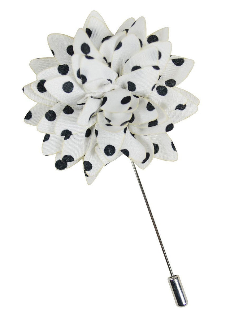 White and Black Polka Dots Lapel Flower Paul Malone  - Paul Malone.com