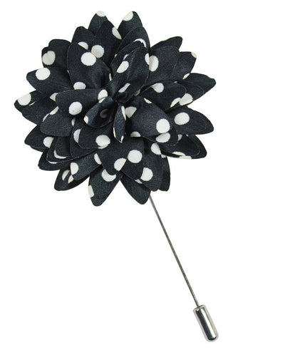 Black and White Polka Dots Lapel Flower Paul Malone Lapel Flower - Paul Malone.com
