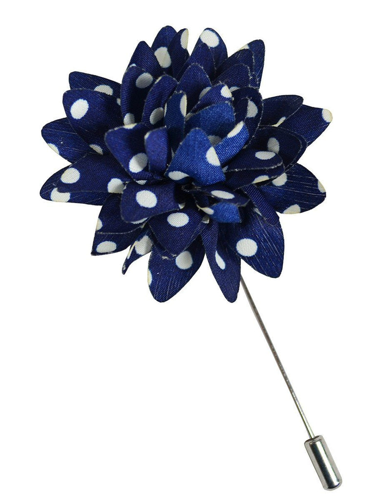 Navy and White Polka Dots Lapel Flower Paul Malone  - Paul Malone.com