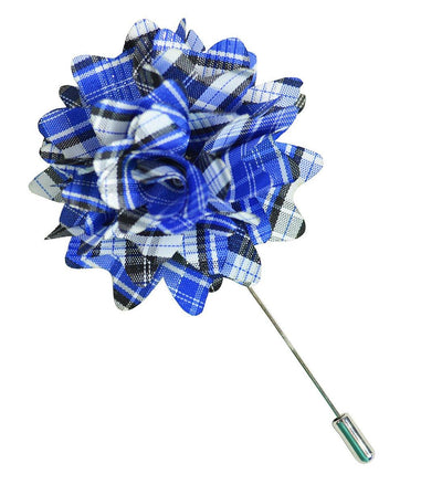 Blue Plaid Lapel Flower Paul Malone Lapel Flower - Paul Malone.com