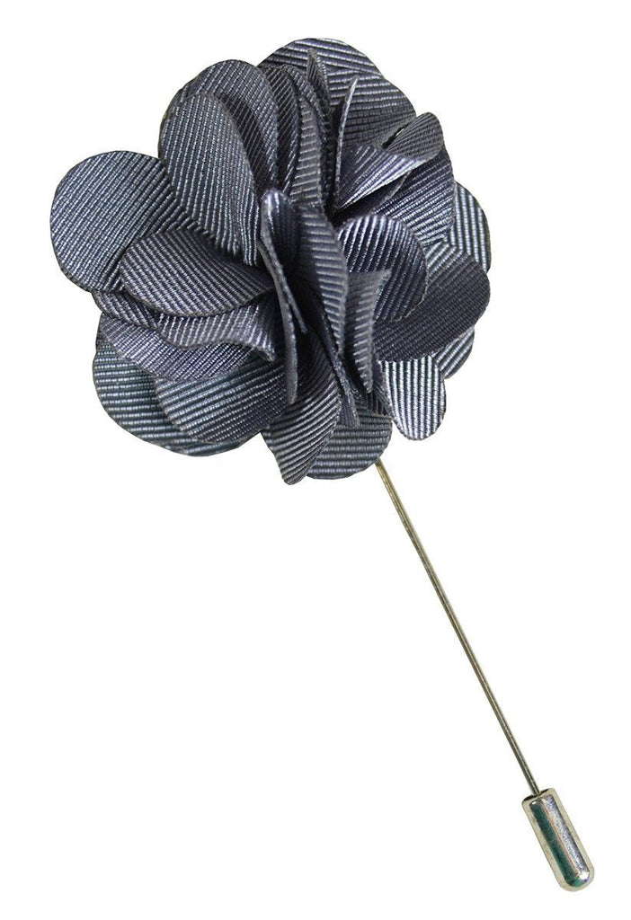 Solid Grey Lapel Flower Paul Malone  - Paul Malone.com