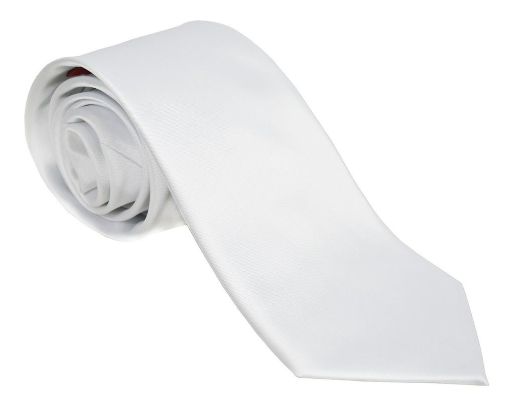 Solid White Necktie and Pocket Square Paul Malone Ties - Paul Malone.com