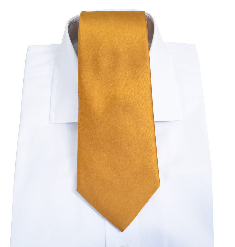 Solid Cadmium Orange Necktie and Pocket Square Paul Malone Ties - Paul Malone.com