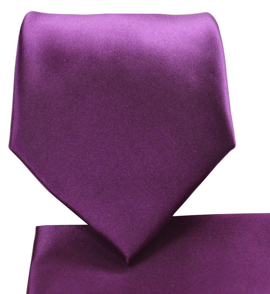 Solid Plum Necktie and Pocket Square Paul Malone Ties - Paul Malone.com