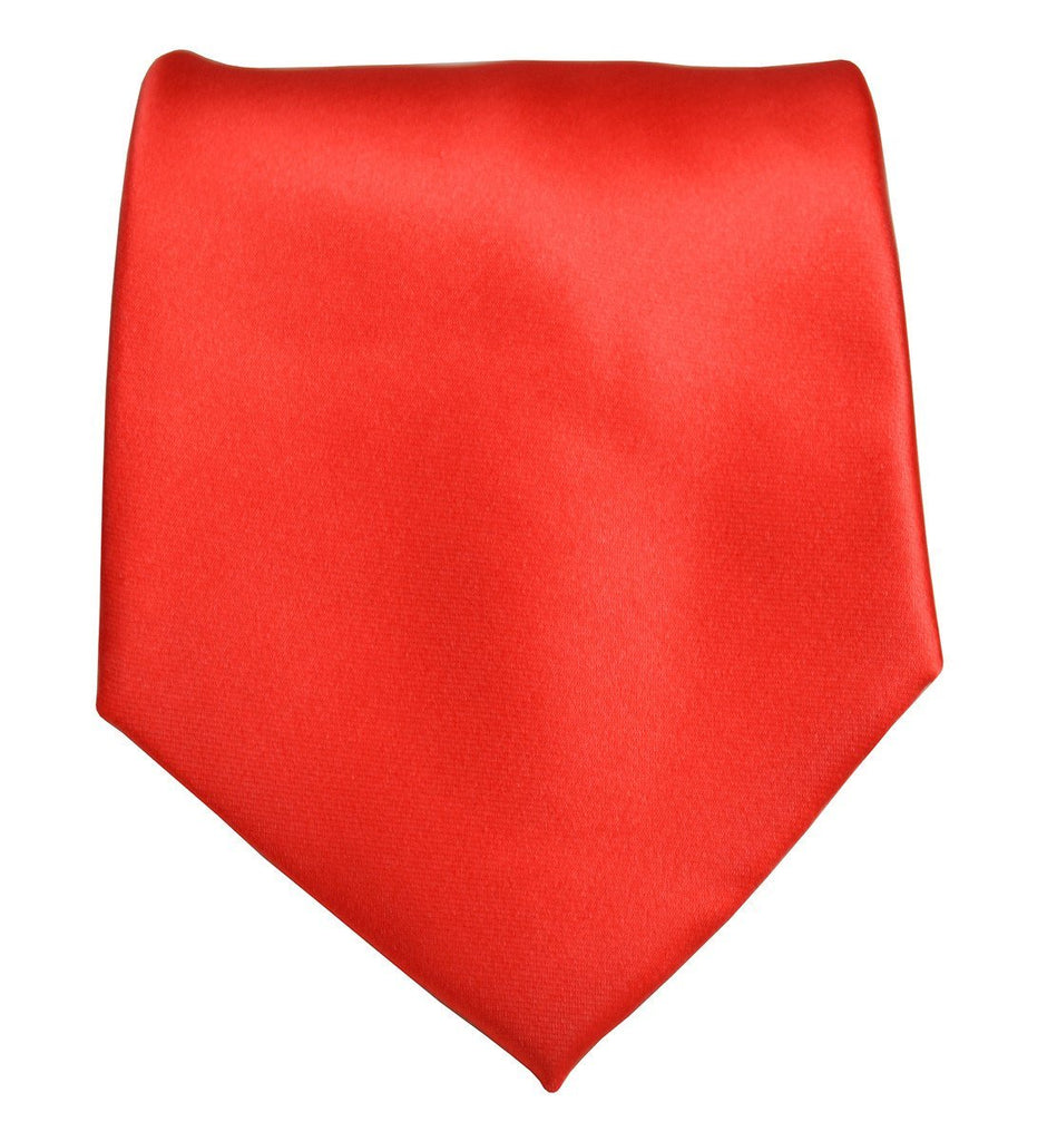 Solid Bright Red Necktie and Pocket Square Ties Paul Malone