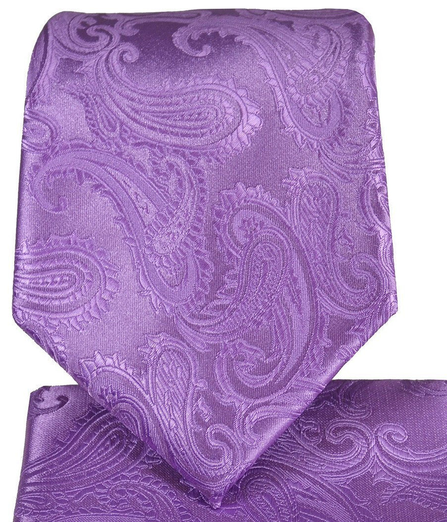 Viola Paisley Necktie and Pocket Square Paul Malone Ties - Paul Malone.com