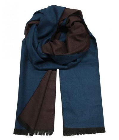 Blue and Brown Wool Felt Scarf Paul Malone Scarves - Paul Malone.com