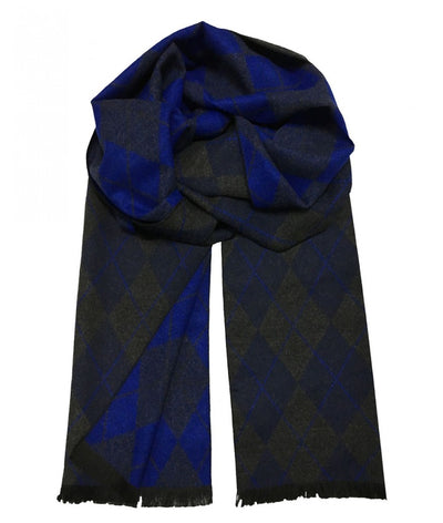 Patterned Blue and Grey Wool Felt Scarf Paul Malone Scarves - Paul Malone.com