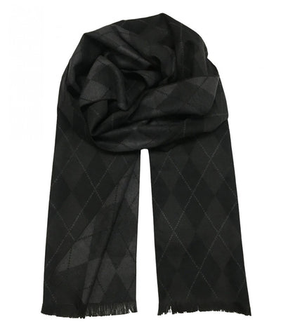 Patterned Black and Grey Wool Felt Scarf Paul Malone Scarves - Paul Malone.com