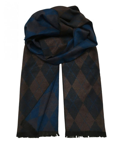 Patterned Navy and Brown Wool Felt Scarf Paul Malone Scarves - Paul Malone.com