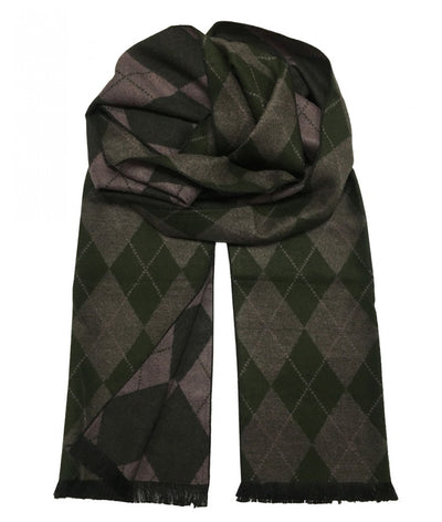 Patterned Green and Brown Wool Felt Scarf Paul Malone Scarves - Paul Malone.com