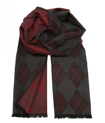 Patterned Charcoal and Red Wool Felt Scarf Paul Malone Scarves - Paul Malone.com