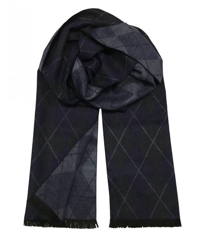 Patterned Navy and Blue Wool Felt Scarf Paul Malone Scarves - Paul Malone.com