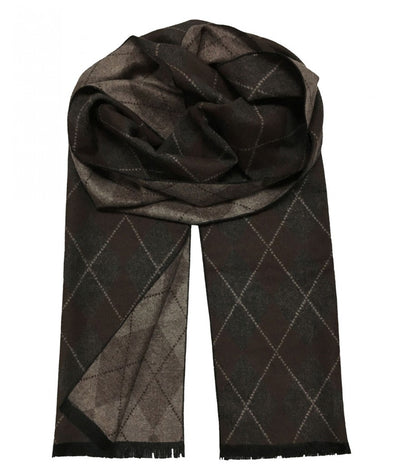 Patterned Brown and Grey Wool Felt Scarf Paul Malone Scarves - Paul Malone.com