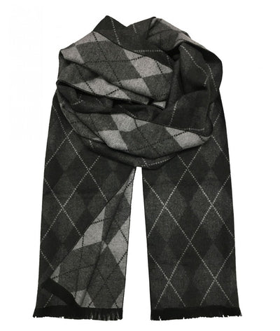 Patterned Charcoal and Grey Wool Felt Scarf Paul Malone Scarves - Paul Malone.com