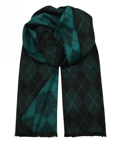 Patterned Teal and Black Wool Felt Scarf Paul Malone Scarves - Paul Malone.com