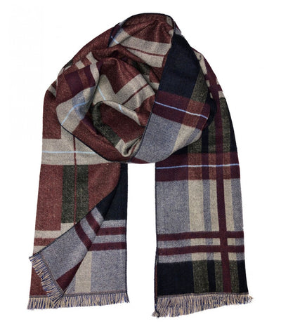 Plaid Gray and Burgundy Wool Felt Scarf Paul Malone Scarves - Paul Malone.com