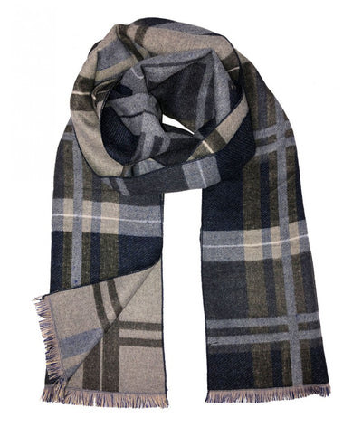 Plaid Gray and Charcoal Wool Felt Scarf Paul Malone Scarves - Paul Malone.com