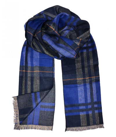Plaid Royal Blue and Navy Wool Felt Scarf Paul Malone Scarves - Paul Malone.com
