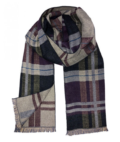 Plaid Gray and Purple Wool Felt Scarf Paul Malone Scarves - Paul Malone.com