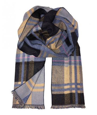 Plaid Blue and Brown Wool Felt Scarf Paul Malone Scarves - Paul Malone.com