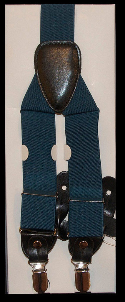 Men/'s Solid AQUA GREEN SUSPENDERS Y Shape Back Elastic Button /& Clip Convertible