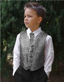 Boys Silver Black Paisley Tuxedo Vest with Clip-on Cravat Paul Malone Vest - Paul Malone.com