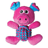 KONG WEAVE KNOTS - Medium Squeaker Knotted Rope Ball Belly Plush Dog Toy Animals